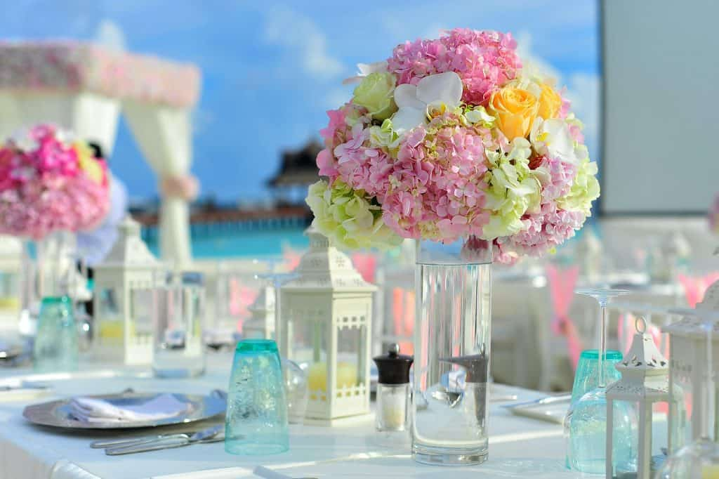 decorated table at a beach wedding